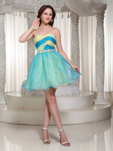 Blue and Yellow Beaded Sweetheart Organza Cocktail Party Dress