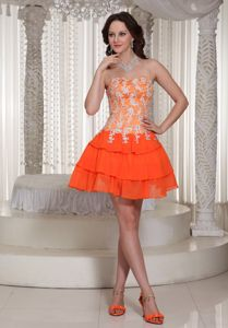 Orange Sweetheart Cocktail Dress with Appliques and Layered Bottom