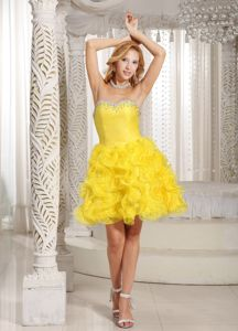 Beaded Yellow Sweetheart Cocktail Dress with Ruffles and Pleats