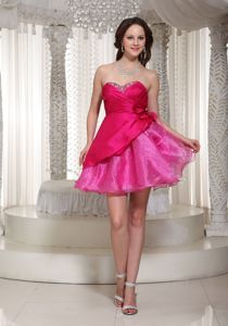 Sweetheart Hot Pink Cocktail Party Dress in Organza and Taffeta