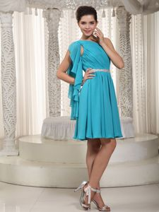 Teal One Shoulder Cocktail Dress with Ruches and a Beaded Sash