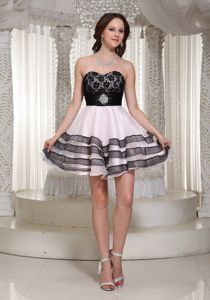 Sweetheart Organza Prom Cocktail Dress with a Black Lace Bodice