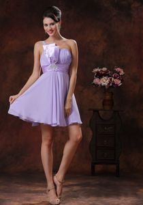 Chiffon Lilac One Shoulder Cocktail Dress with a Half-bow Sash