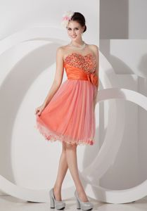 Orange Sweetheart Cocktail Dress with Beading and Hand Made Flowers