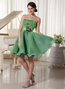 Green Organza Cocktail Party Dress with Ruches Hand Made Flowers