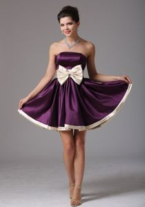 Strapless Dark Purple Cocktail Dress with a Champagne Bow Sash