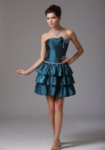 Dark turquoise Prom Cocktail Dress with Ruffled Layers and a Bow