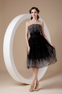 Strapless Black Organza Tea-length Cocktail Dress with Beading
