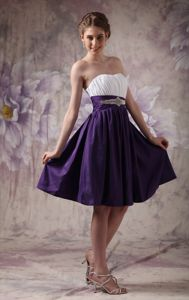 White and Purple Sweetheart Cocktail Dress with Beading and Ruches