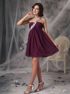 Chiffon Dark Purple One Shoulder Cocktail Dress with Appliques