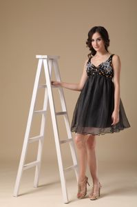 Black Organza Homecoming Cocktail Dress with Beading and Straps