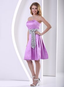 Lavender Taffeta Cocktail Party Dress with a Shinning Bow Sash