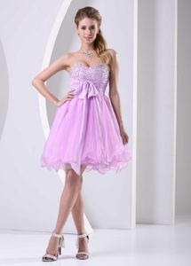 Sweetheart Baby Pink Beaded Chiffon Cocktail Dress with Beading