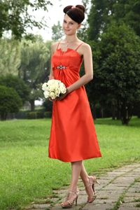Taffeta Orange Tea-length Wedding Cocktail Party Dress with Straps