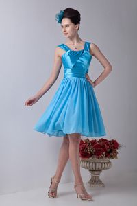 Ruched Aqua Blue Chiffon and Taffeta Cocktail Dress with Straps