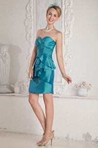 Teal Taffeta Sweetheart Cocktail Dress with a Sash and Ruffles
