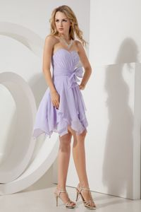 Lilac Chiffon Sweetheart Cocktail Dress with a Bowknot and Ruches