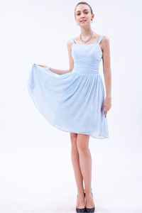 Baby Blue Cocktail Party Dress with Straps and Ruches in Chiffon
