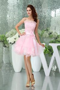 Strapless Baby Pink Cocktail Dress with Ruffled Layers and Appliques