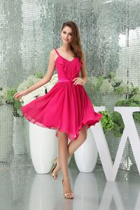 Chiffon Hot Pink Cocktail Dress with Asymmetrical Hemline and Straps