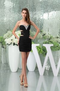 Sweetheart Black Prom Cocktail Dress with Side Cutouts and Beading