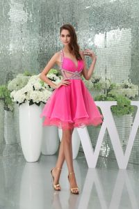 Halter Top Hot Pink Cocktail Dress with Side Cutouts and Beading