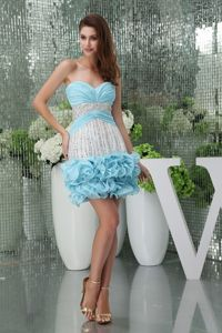 Sweetheart Blue and White Cocktail Dress with Rosettes and Beading