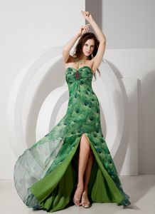 Sweetheart Green Prom Cocktail Dress with Brush Train Beading