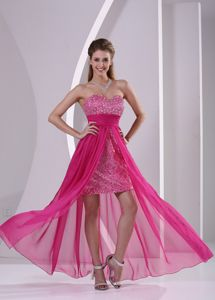 High-low Hot Pink Sweetheart Homecoming Cocktail Dresses