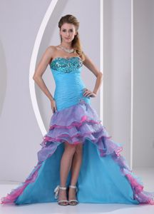 Muti-color High-low Mermaid Cocktail Party Dresses with Beading