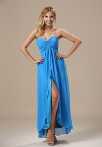 Beaded Ruched Blue Chiffon Prom Cocktail Dress with High Slit