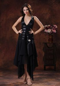 Black Halter Elegant Homecoming Cocktail Dresses with Beading