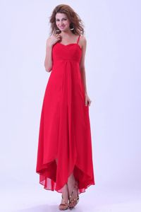 Chiffon Coral Red Cocktail Party Dresses with Spaghetti Straps