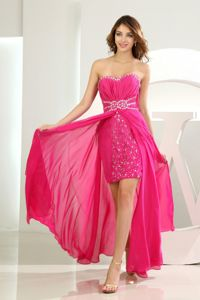Chiffon Beaded Cute Cocktail Party Dresses Hot Pink with High Slit