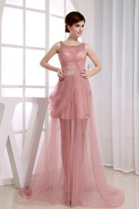 Beaded Scoop Prom Cocktail Dress with Court Train Pink Tulle