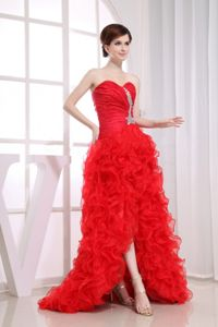 Beaded Mermaid Cute Prom Cocktail Dress Organza High-low Red