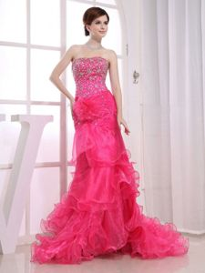 Mermaid Hot Pink Cocktail Party Dresses with Brush Train Beading