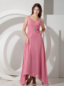 V-neck Beaded Cute Cocktail Party Dresses in Ankle-length Chiffon