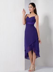 Purple High-low Elegant Cocktail Party Dresses with Spaghetti Straps