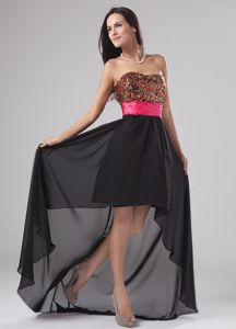 High-low Chiffon Sequined Cute Strapless Cocktail Dress For Prom