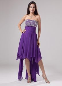 Purple Dresses For Wedding Cocktail Party Strapless with Beading