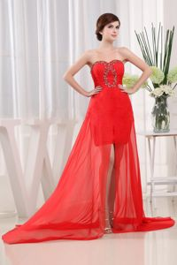 Red Fashion Cocktails Dresses with Brush Train Beading and Ruches