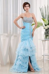 Beaded Ruched Baby Blue Cocktail Dress For Prom with Ruffles