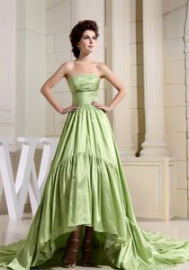 A-Line Strapless Cocktail Dress Yellow Green with Court Train