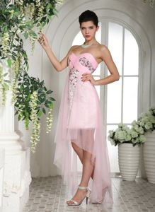Baby Pink Beaded High-low Stylish Wedding Cocktail Party Dress