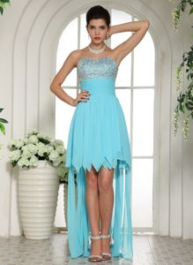 Beaded Sweetheart High-low Cocktail Dress For Prom Aqua Blue