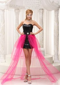 Hot Pink High-low Homecoming Cocktail Dresses with Beading