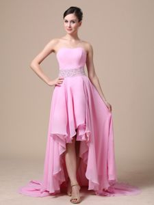 High-low Baby Pink Beaded Stylish Wedding Cocktail Party Dress