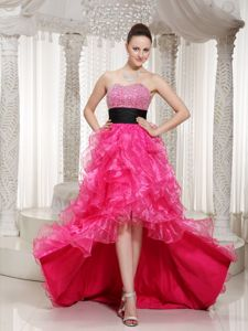 Beaded Hot Pink Prom Cocktail Dress with Black Sash High-low