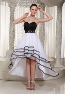 White and Black High-low Layered Sweetheart Cocktail Dresses